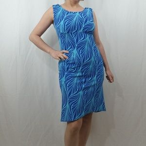 NWT FLORAL PRINT HI-LOW SLEEVELESS BLUE MIDI DRESS